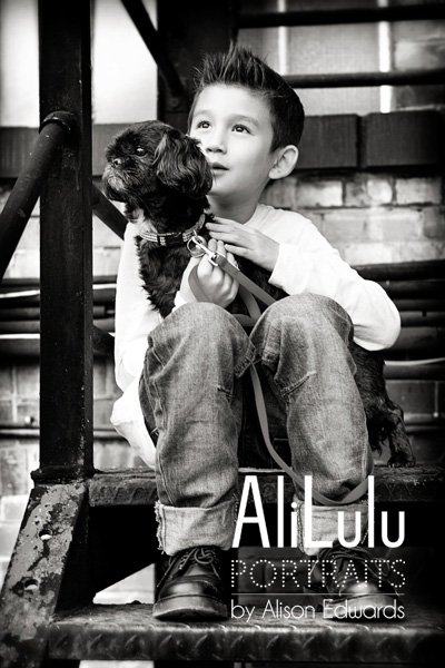 photo of boy and pet dog