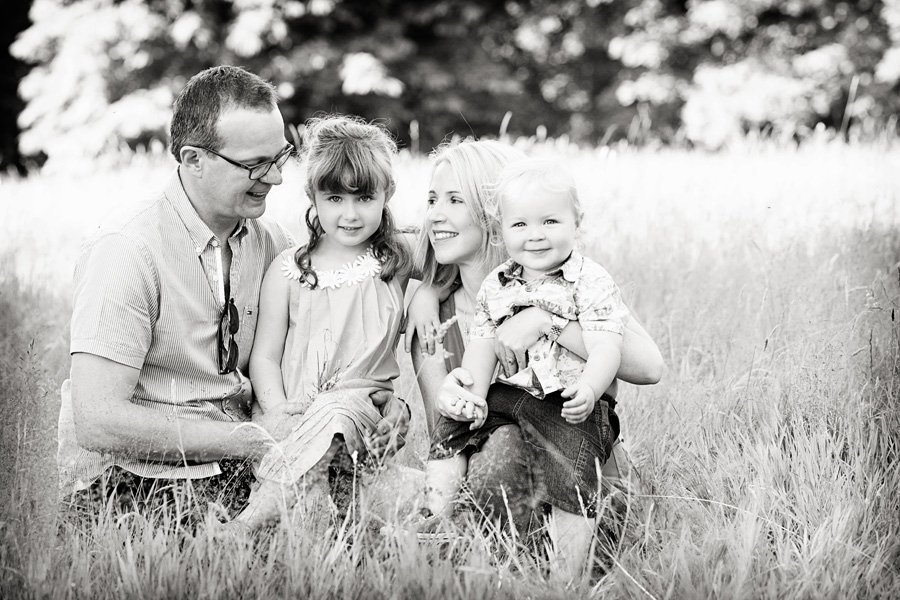 Childrens photographer nottingham family portrait in fields