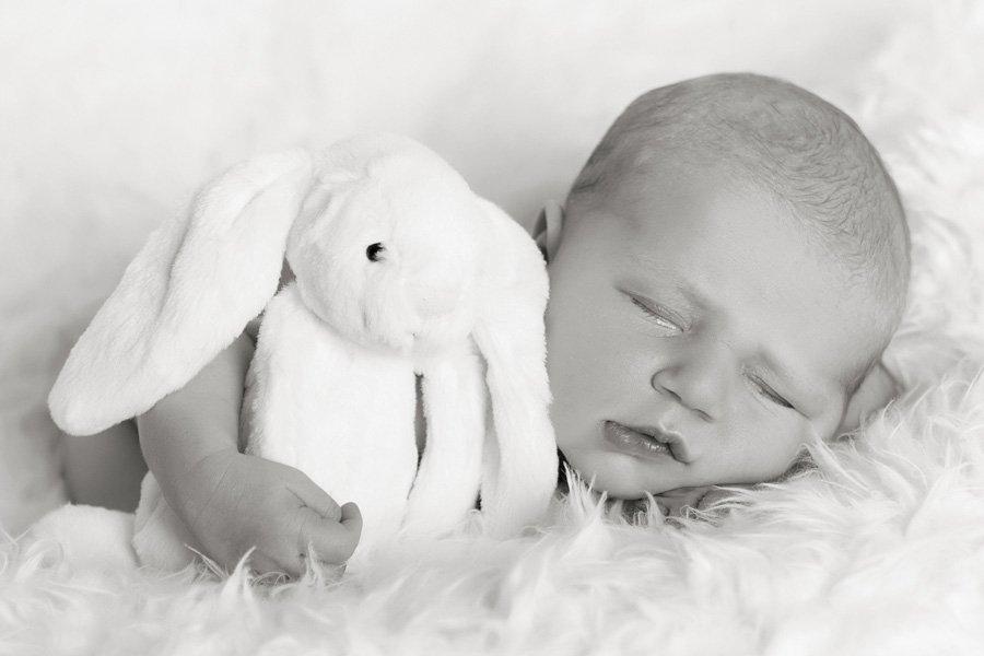 Newborn baby girl with bunny rabbit photographer derby