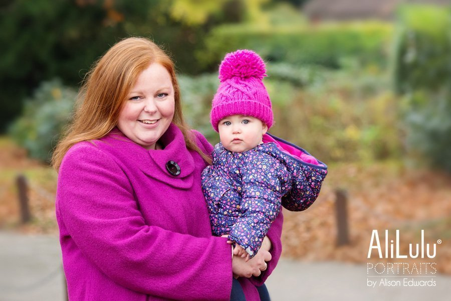 mum and daughter in family photo shoot at park