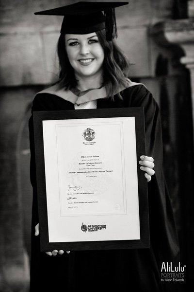 girl holding certificate of graduation in Nottingham