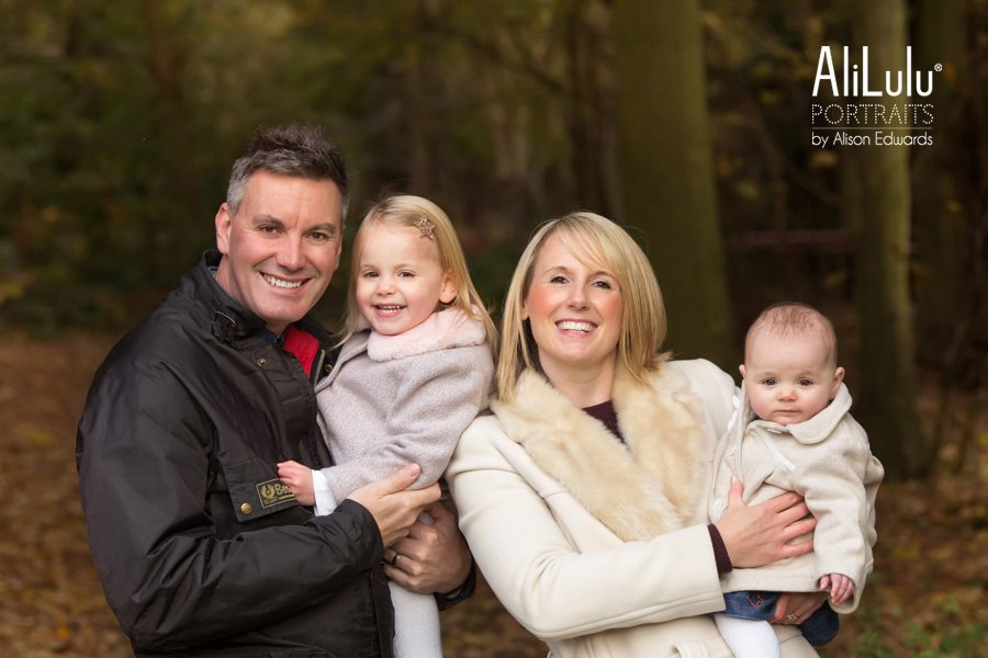 Family photo at autumn by nottingham family photographer