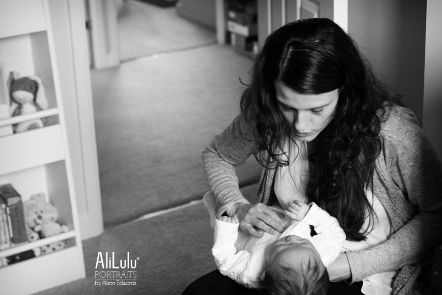 mum soothing baby at home