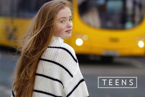 teen girl in city centre photo shoot