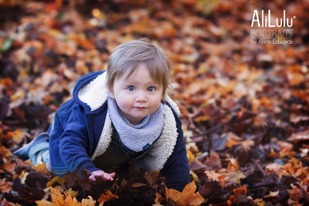 autumn photos in Nottingham of boy crawling in leaves