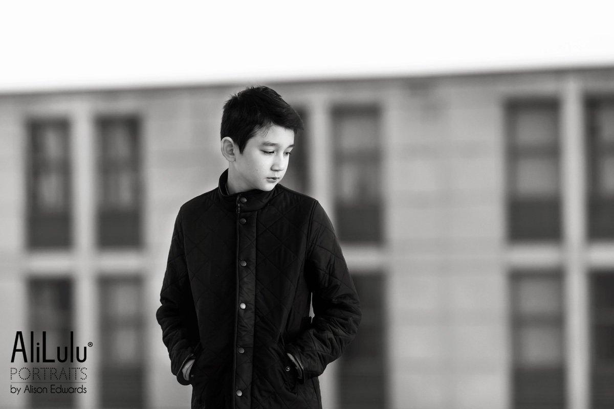 boy in barbour coat
