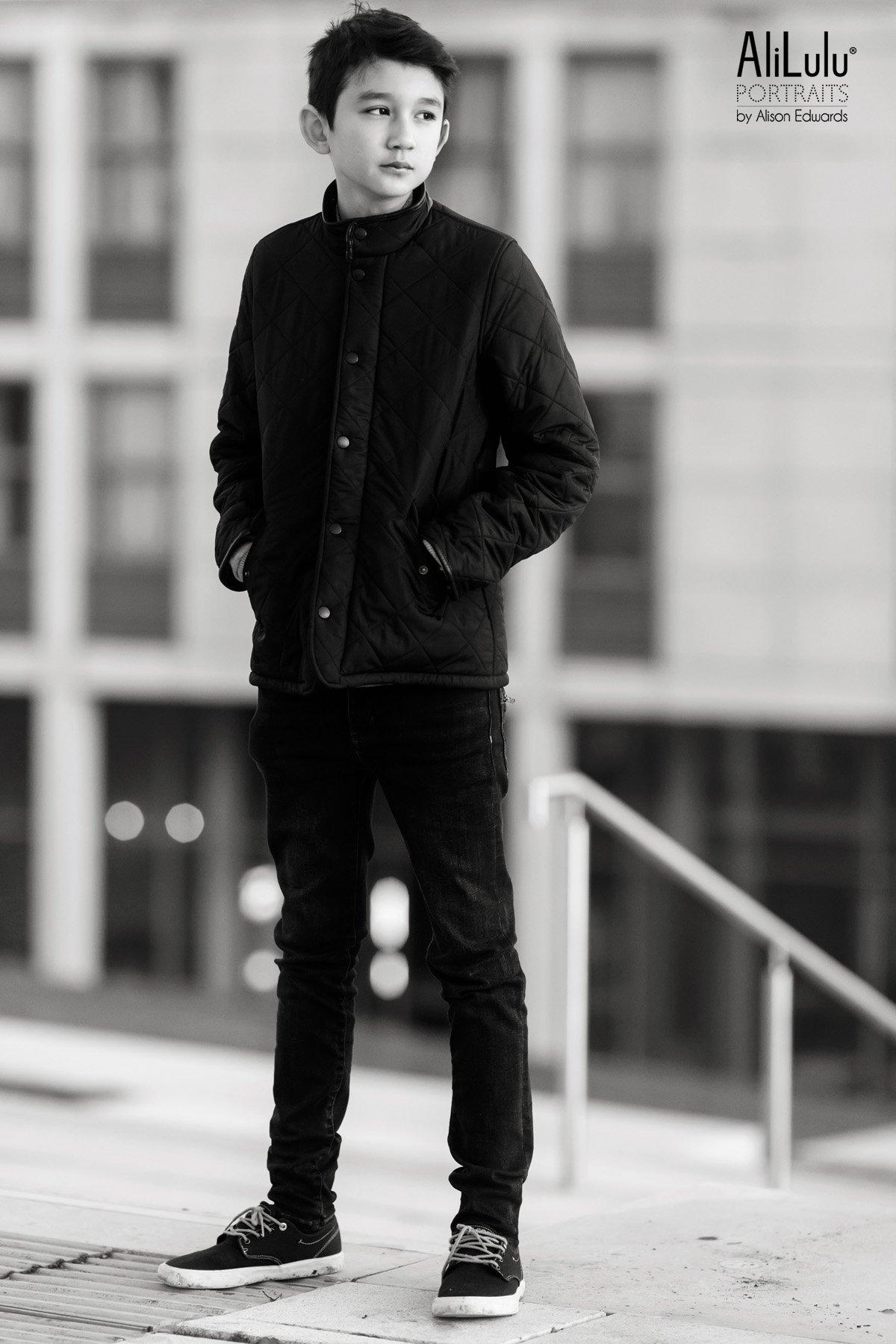 teenage boy in barbour coat