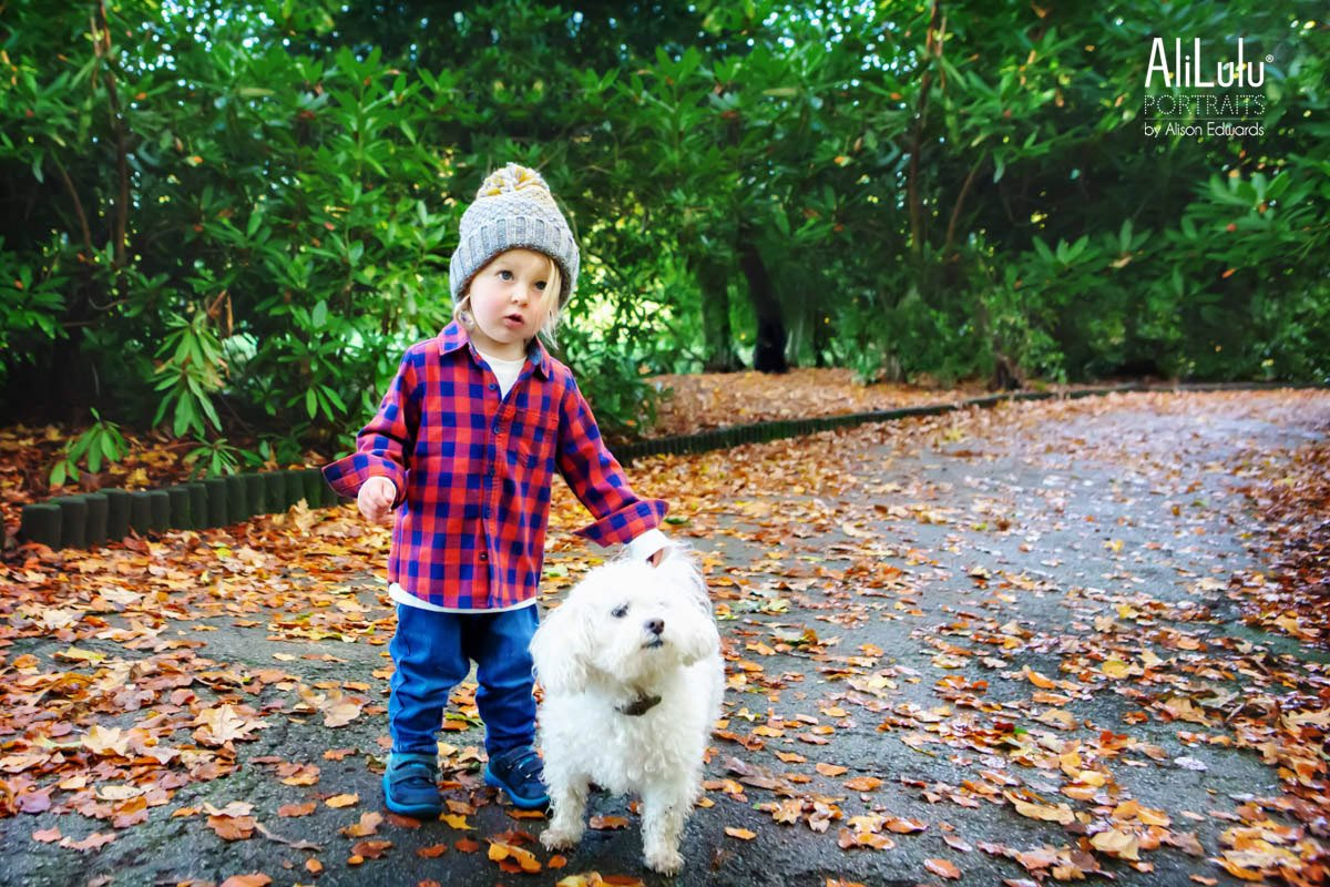 cute boy and dog in autumn pathway