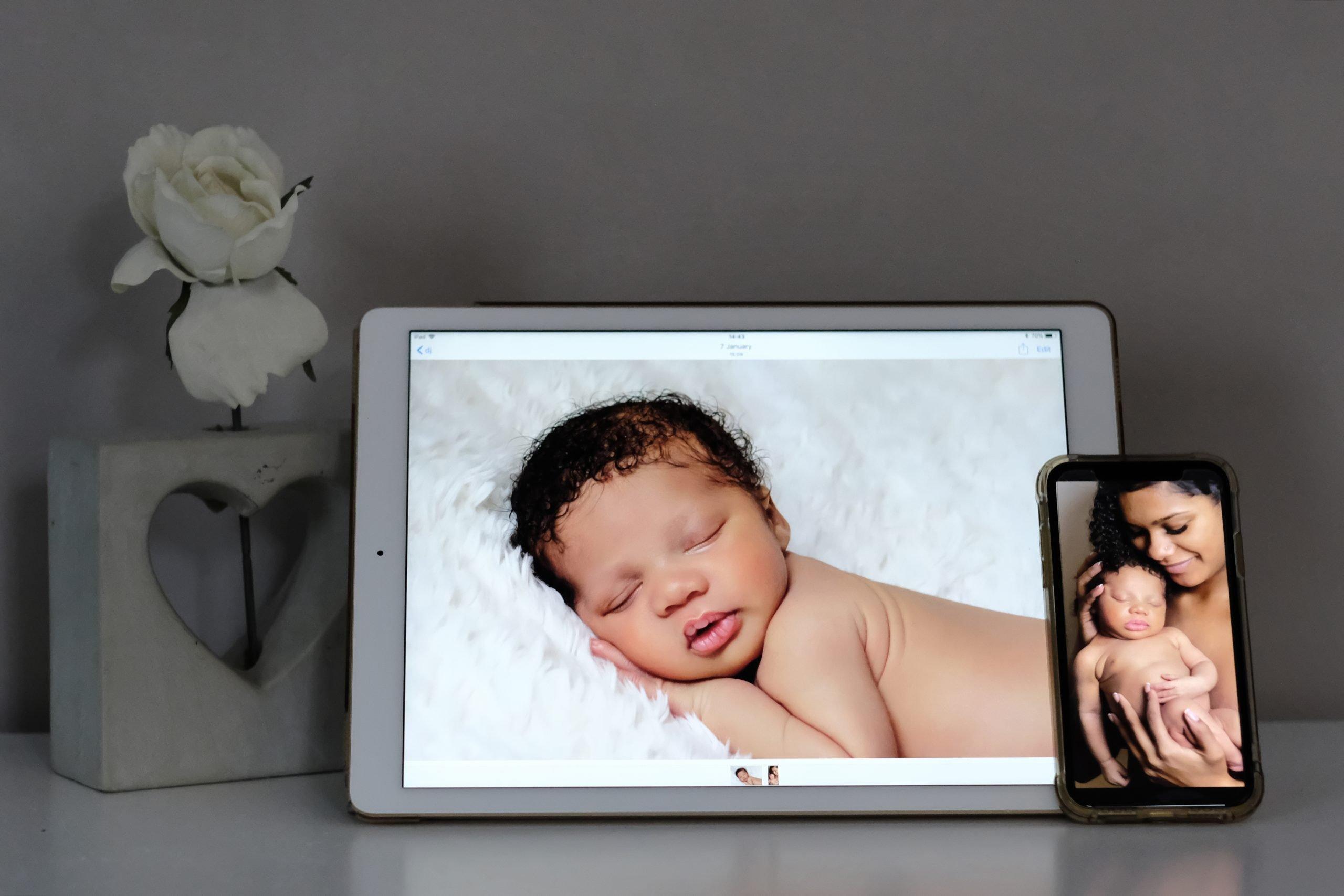 newborn digital images on iPad and phone