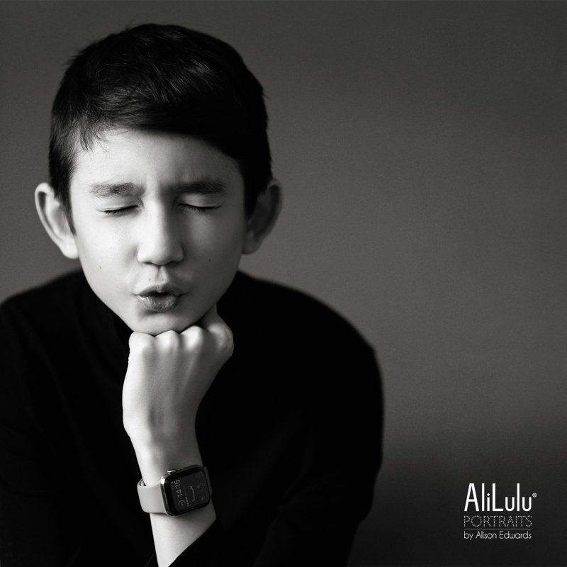 portraits in black and white expression from teen boy